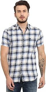 Mufti Men's Checkered Slim Fit Casual Shirt (MFS-9584-H-16_Blue_XXL)