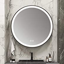 MIAOHUI - Espejo de baño inteligente con iluminación LED, espejo redondo regulable, retroiluminado, con interruptor táctil...