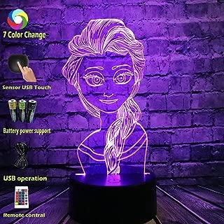 Multicolor Lava Cartoon Figure 3D Visual LED Lamp Princess Comic Elsa Queen Head Smart Touch USB Remote Change Baby Sleep Safe Produce Mood RGB Night Light Table Lava Beauty Kids Girl Gift (Elsa Head)