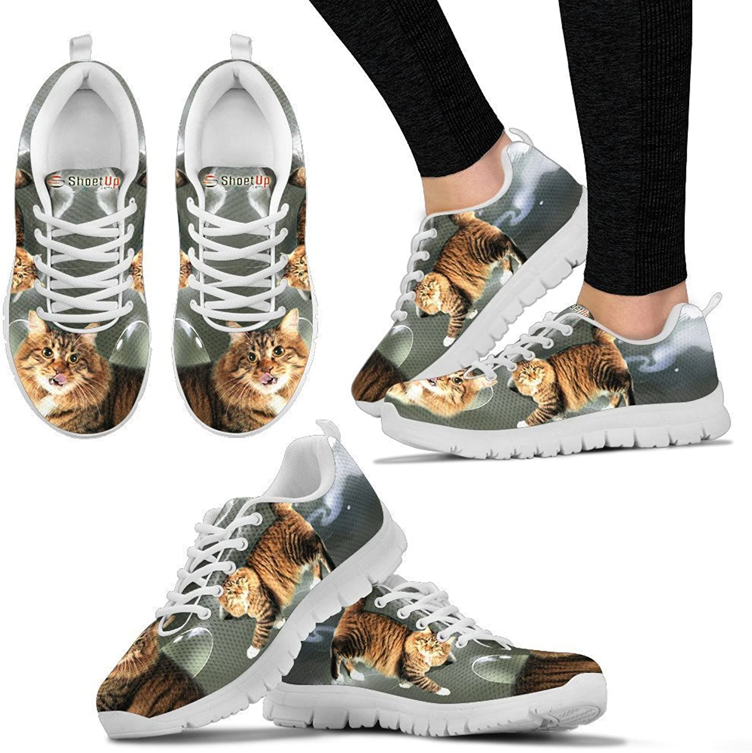 Pet By You American Bobtail Cat (Halloween) 3D Printed Sneakers, Light Weight Sneakers for Women, Breathable Jogging Running Gym shoes, Women Sneakers - US Sizes 5-12.
