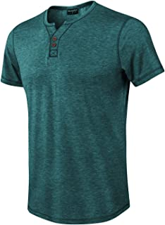 Moomphya Men's Jacquard Knitted Casual Short Sleeve V-Neck Henley T-Shirts