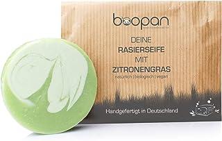 boopan Rasierseife mit Zitronengras handgefertigt in Deutschland - bio Rasierseife Damen & Herren - vegan, plastikfrei, natürlich - 60g Zitronengras