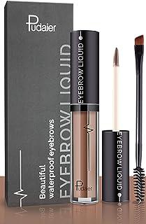 Waterproof Eyebrow Gel, Long Lasting Smudge-Proof Liquid Brow Makeup Tint, Brow Shaper with Mascara Primer Brush Wand Kit (Color Brown)