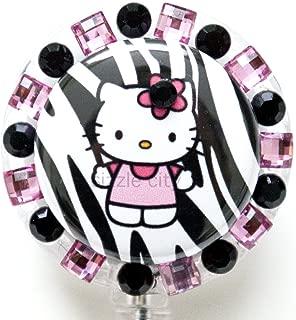 Pink Zebra Hello Kitty Rhinestone Badge Reel/ ID Badge Holder for Nurses, Teachers, and anyone with an ID Badge to display
