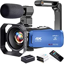 Video Camera, Zohulu 4K Camcorder WiFi Ultra HD 48MP YouTube Camera for Vlogging, 3.0'' IPS Screen 18X Digital Zoom Video ...