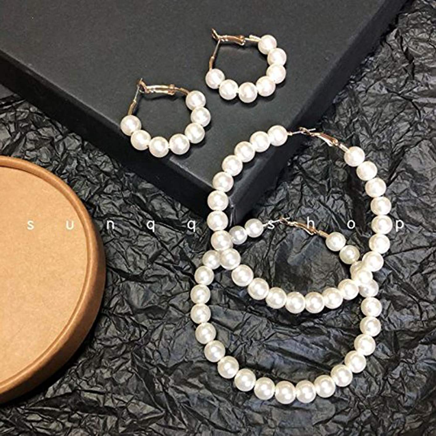 S custom home trade of the original single retro texture pearl exaggerated big ear hoop earrings