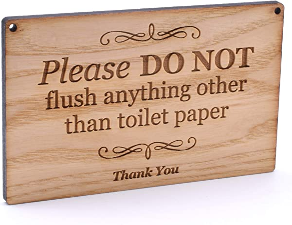 Ash Veneer Engraved Wooden Sign Plaque For Toilet Bathroom W C Septic Tank Please Do Not Flush Anything Other Than Toilet Paper