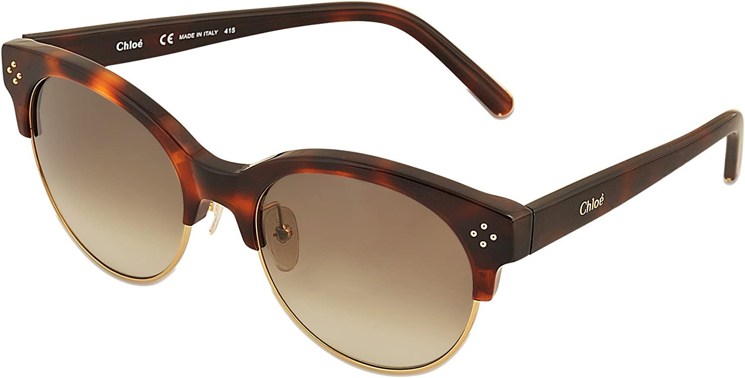 Chloe Boxwood Round Clubmaster Style Sunglasses in Havana CE704 S 218 54 54 Brown Gradient
