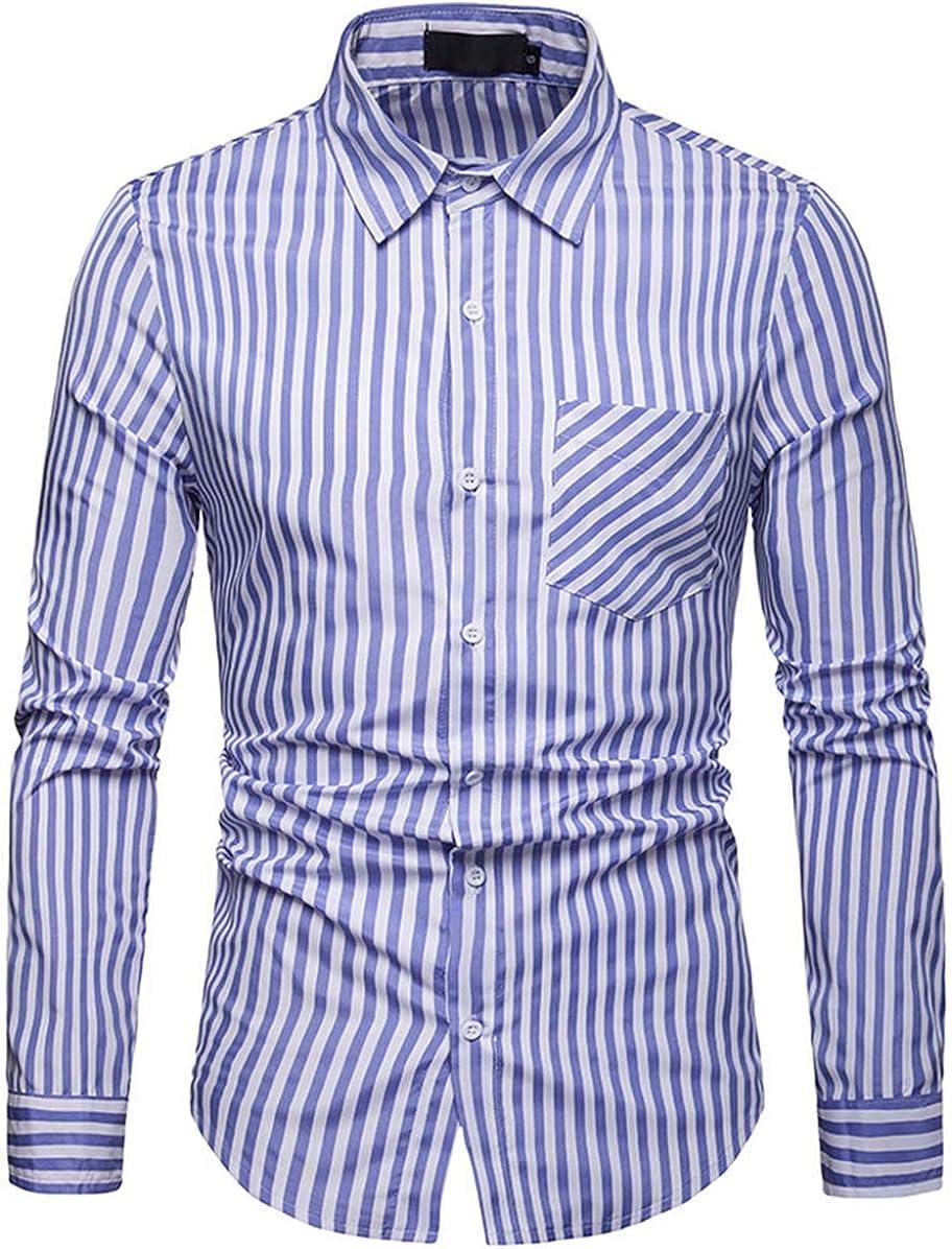 Men's Shirt Classic Casual Fashion Stripe Long Sleeve Shirt Shirt Simple and Versatile