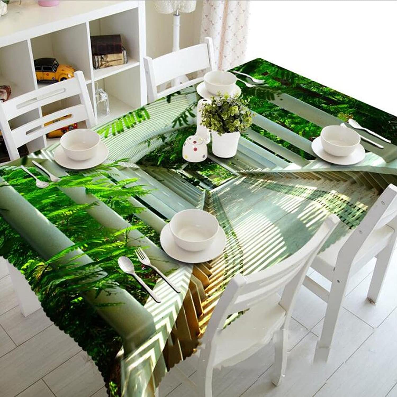 Tablecloth 3D Green Shade Digital Printing Dustproof Rectangular Dinner Desktop Top Cover