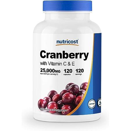 Nutricost クランベリーエキス(25000mg)、ビタミン C&E配合、120カプセル、非GMO、グルテンフリー