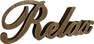 CVHOMEDECO. Letrero de Madera con Texto en inglés Free Standing Relax Desk/Table/Shelf/Home Wall/Office Decoration Art, L 30.5 x H 10.5 x Grueso 2.5 cm