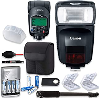 Canon Speedlite 470EX-AI Flash + Canon Speedlite Case + Monopod + 4 High Capacity AA Rechargeable Batteries & Charger + 2X Battery Case + Accessory Bundle