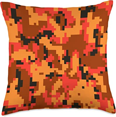 Camouflage Playground Orange Camo Camouflage Art Pattern Throw Pillow, 18x18, Multicolor