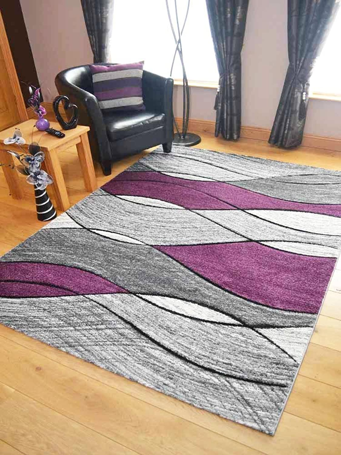 Impulse Purple Silver Wave Thick Quality Modern Carved Rugs Runner Small Extra Large Soft (120cm x 170cm)