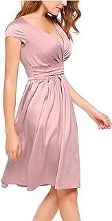 Women Deep V-Neck Empire Waist Satin Cap Sleeve Short Bridesmaids Cocktail Party Dress