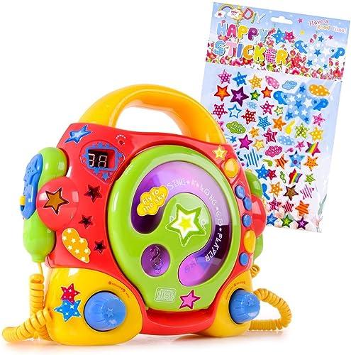etc-shop Karaokeanlage Kinder portabler Karaoke CD Player Sing-a-Long +2 Mikrofone im Set inklusive Sternchen Sticker