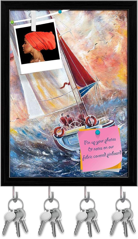 Artzfolio Seamen On A Boat Key Holder Hooks   Notice Pin Board   Black Frame 12 X 16.5Inch
