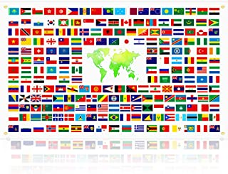 210 Countries World Flag Banner, Vibrant International Country Flags Backdrop Decoration with Brass Grommets & 6m Ribbon, Party Decorations for World Cup Olympics Grand Opening Bar Sports Clubs School