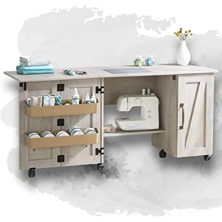 Wooden Folding Sewing Cabinet Multifunction Large Sewing Craft Table With Storage Shelves And Lockable Casters Space Saving Wood Sewing Furniture For Small Spaces Farmhouse Style