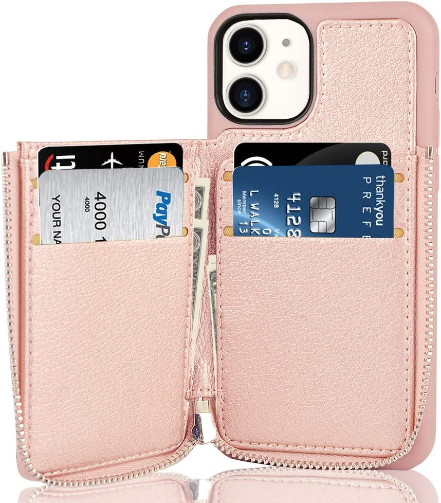 LAMEEKU iPhone 11 Wallet Case, RFID Blocking Zipper Wallet Case with Card Holder, Leather Cover with Protective Credit Card Slot Zipper Pocket Wallet Flip for Apple iPhone 11 (2019) 6.1