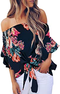 Womens Floral Off The Shoulder Tops 3 4 Flare Sleeve Tie...