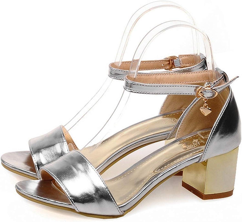 Women's Sandals Summer Solid Open Toe Buckle Thick Heel mid Heel Women's shoes,2,31
