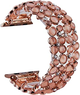 VIQIV Bling Bands for Compatitle Apple Watch 38mm 40mm 42mm 44mm Iwatch Series 4 3 2 1, Diamond Bracelet Metal Jewelry Wristband Strap for Women