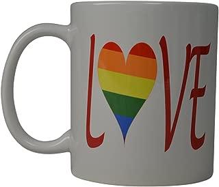 Best Coffee Mug Rainbow Heart Love Gay Pride Novelty Cup Great Gift Idea For Men Women Gay Lesbian Bisexual Transgender (Love)