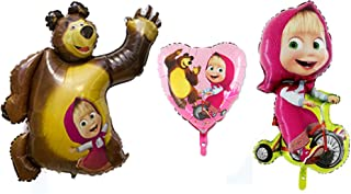 3Psc Metal Inflatable Balloon Masha and Bear Holiday Children's Kids Party Party Favor Party Supplies Invitation Deco Russian Cartoon