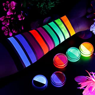 Water Activated Eyeliner, UV Glow Neon Cake Paint, 10 Bright Color in 5 Cake Hydra Eye Liner,UV Glow Blacklight Luminous B...