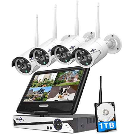 "[8CH Expandable, 2K] Hiseeu All-in-one with 8CH 10.1"" 1296P Monitor Wireless Security Camera System, 4pcs 3MP Indoor/Outdoor Wireless Home Security Camera System, Remote Access, One-way Audio, 1TB HDD"