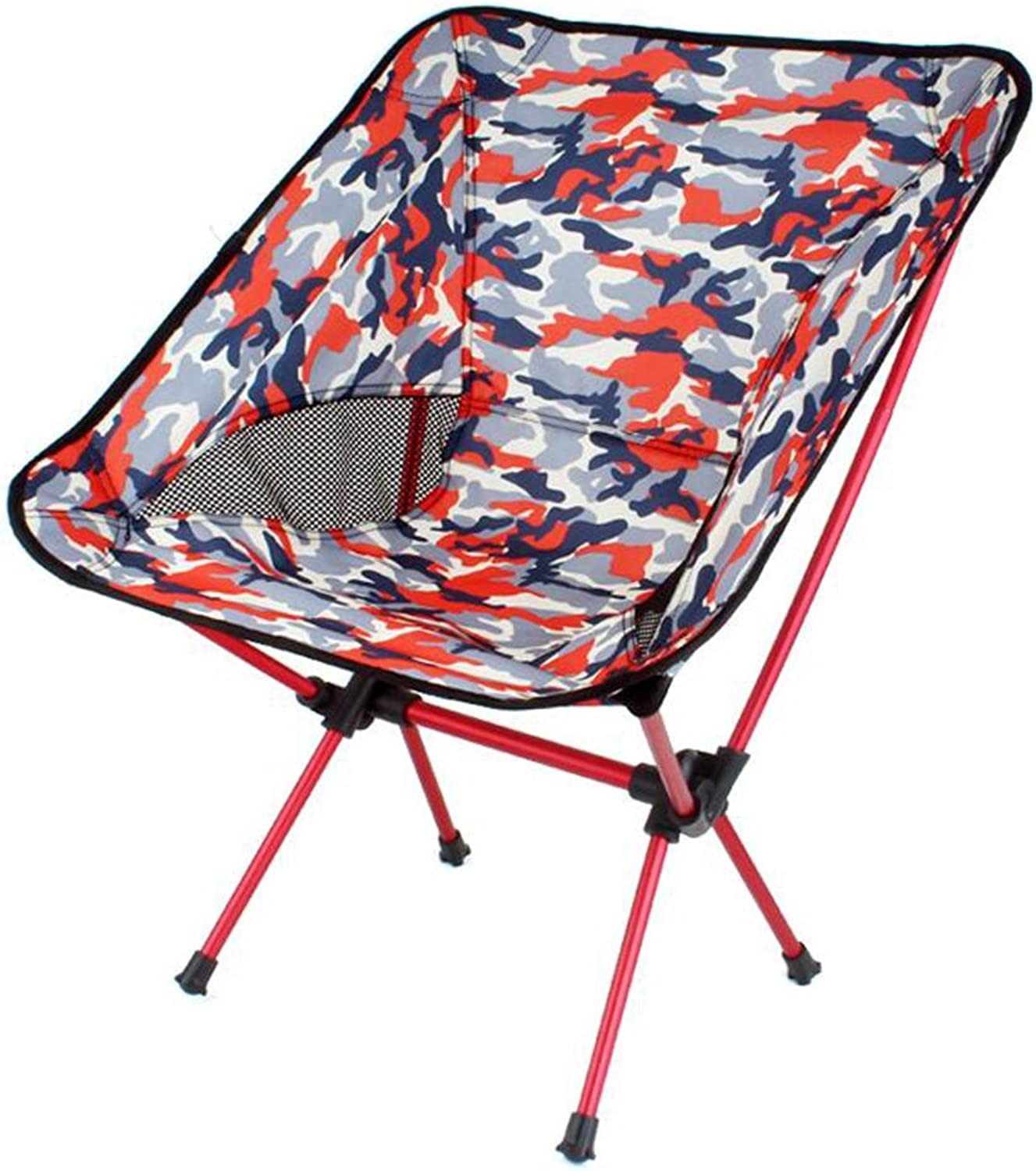 Folding Chairs Tatami Outdoor Camping Folding Chair Portable Moon Chair Fishing Chair backrest Drawing Chair Barbecue Stool (color   Red)