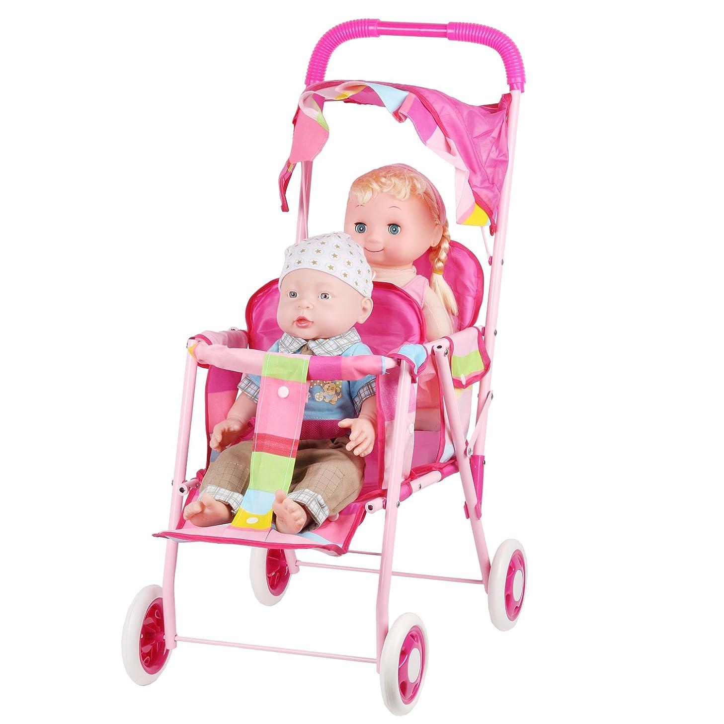 キネマティクス起きている種人形用 ベビーカー バギー お世話パーツ かわいい 乳母車 おもちゃ 鉄の枠 折り畳み式 楽しく二人乗せ女の子贈り物プレゼントままごと誕生日