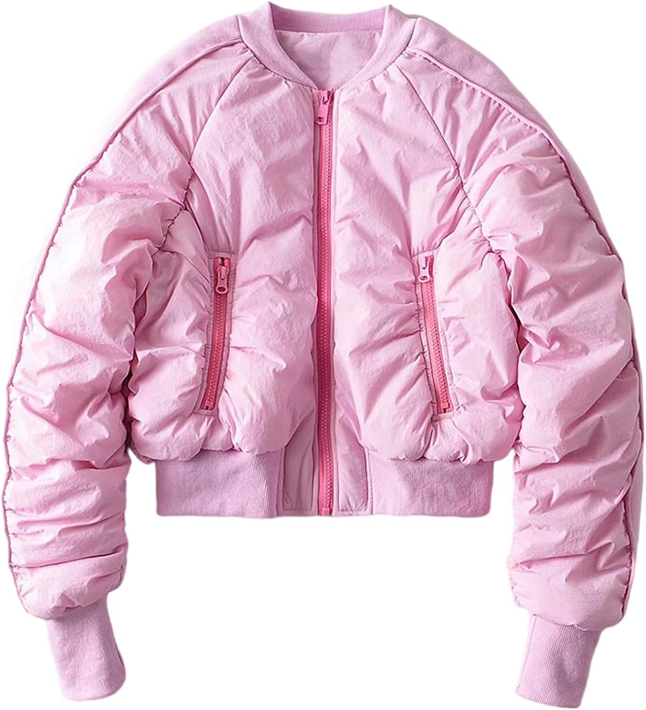 Yeokou Women's Crop Short Black Jacket Cropped Quilted Padding Bomber Puffer Jackets Coat