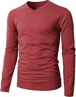 Mens Casual Slim Fit Long Sleeve V-Neck T-Shirts of Various Styles