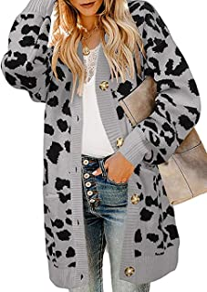 Women Chic Leopard Print Cozy Sweater Pockets Button Down Open Front Loose Knitted Long Cardigan with Sleeves