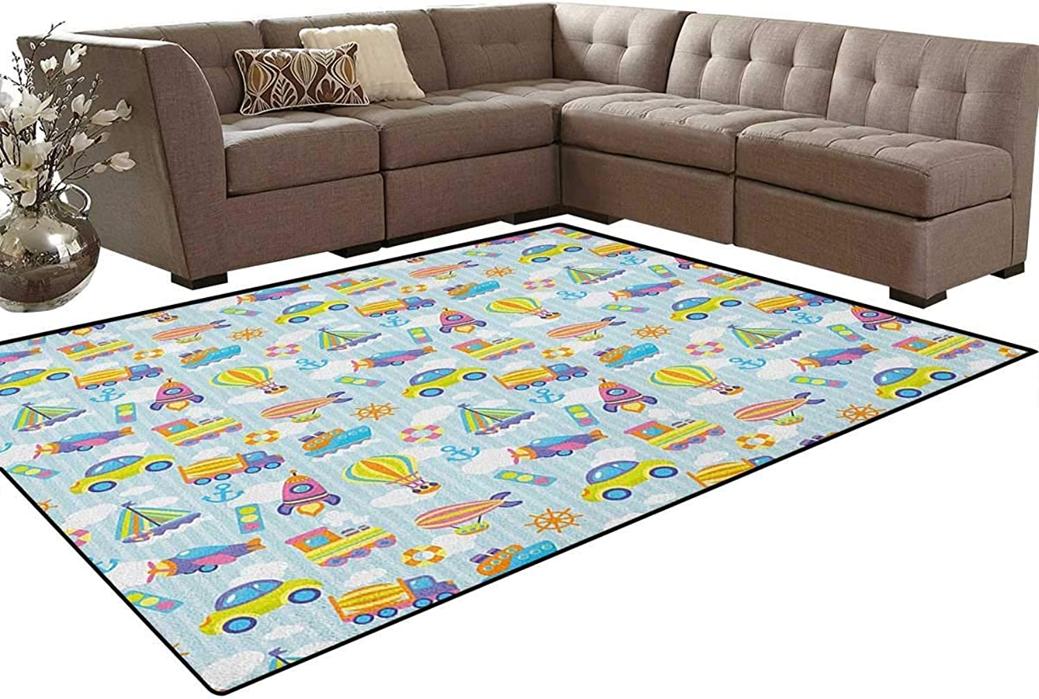 Transportation Themed Toy Vehicles and Icons Pattern on Stripes and Fluffy Clouds Floor Mat Rug Indoor Front Door Kitchen and Living Room Bedroom Mats Rubber Non Slip