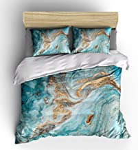 WishColorful Marble Duvet Cover Sets King Size,3 Pcs Golden Turquoise Grain Bedding Set with 2 Pillowcases,NO Comforter and Sheet
