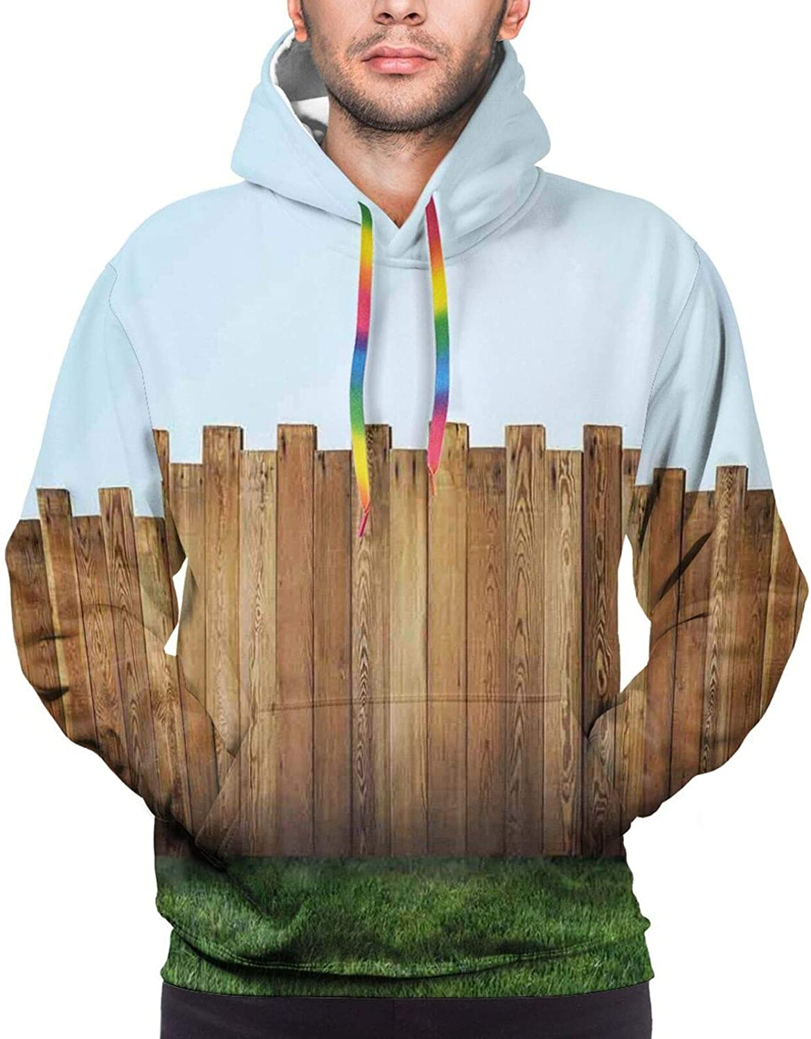 Men's Hoodies Sweatshirts,Rustic Old Train in Country Locomotive Wooden Wagons Rail Road with Smoke
