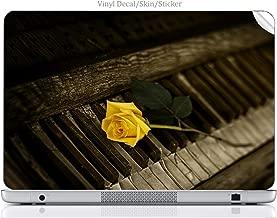 Laptop VINYL DECAL Sticker Skin Print Yellow Rose on Vintage Piano Keys fits Compaq Presario CQ57