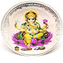 CARATCAFE Pure Silver 999 Coin Lord Ganesh 3D Color Print 10 Grams (38 MM Size)