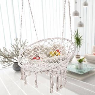 Bormart Hammock Chair Macrame Swing, Hanging Lounge Mesh Chair Durable Cotton RopeSwing for Bedroom, Patio, Garden, Deck,...