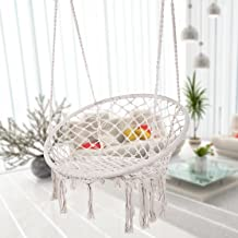 Caromy Hammock Chair Macrame Swing, Hanging Lounge Mesh Chair Durable Cotton Rope Swing for Bedroom, Patio, Garden, Deck, Yard, Max Capacity 265 Lbs (White)