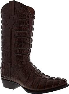 EL PRESIDENTE - Men's Full Crocodile Tail Print Cowboy Boots J Toe