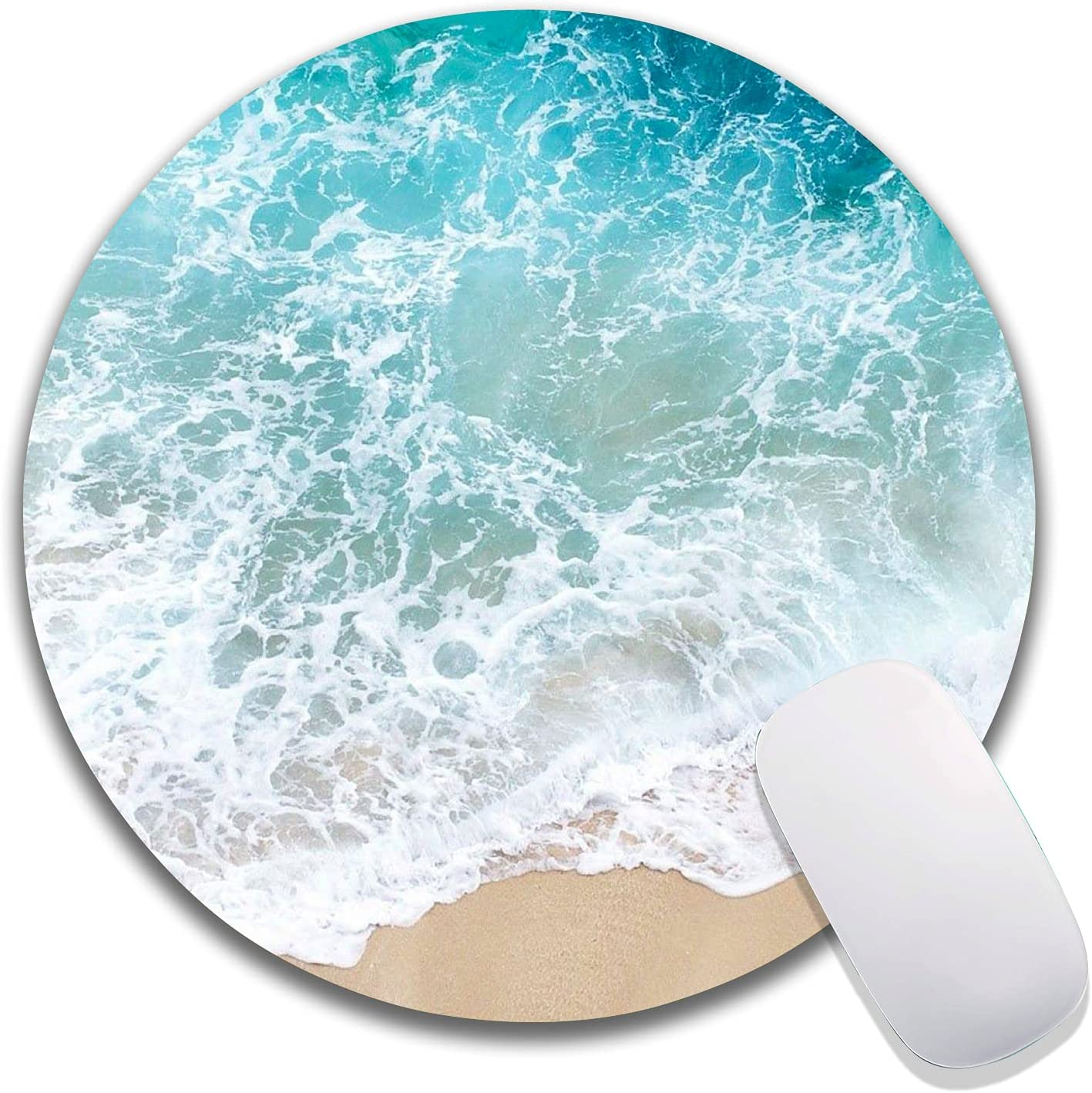 Ranking TOP1 Hokafenle Beach Round Mouse Free shipping New Pad Premiu Blue Seawater Customized
