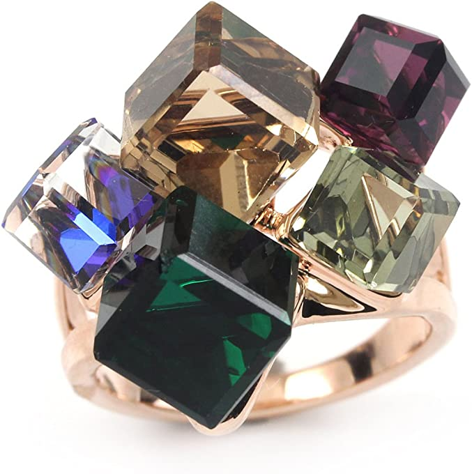 FC JORY Rose Gold Plated Faux Square Gem Multi- Color Cocktail Ring