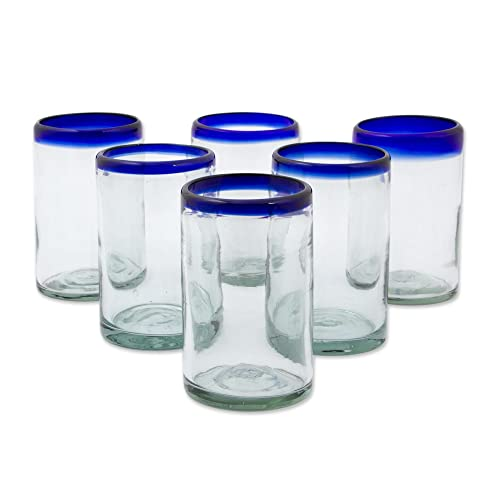 8b39810af3ea NOVICA Artisan Crafted Hand Blown Clear Blue Rim Recycled Glass Juice  Glasses