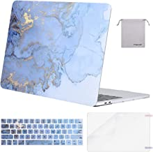 MOSISO Compatible with MacBook Pro 13 inch Case 2019 2018 2017 2016 Release A2159 A1989 A1706 A1708, Plastic Pattern Hard Shell Case&Keyboard Cover&Screen Protector&Storage Bag, Water Blue Marble