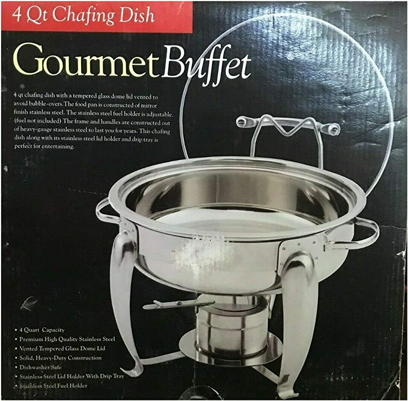 Gourmet Buffet 4 Quart Chafing Dish Mirror Finish Stainless Steel NIB
